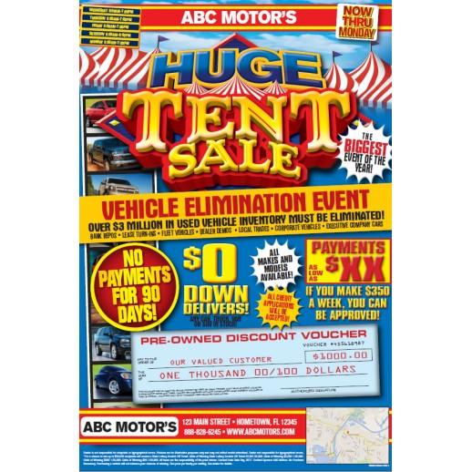 Automotive Tent Sale Direct Mail Campaign