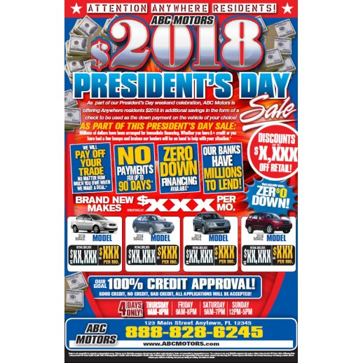 automotive direct mail president s day trifold mailer