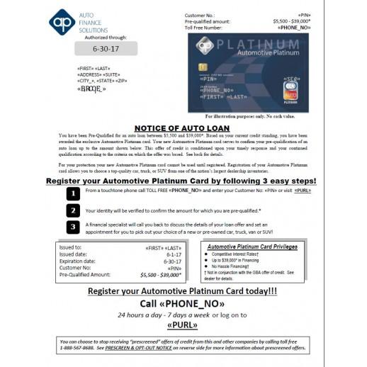 Auto Platinum Credit - Embossed Card Mailer