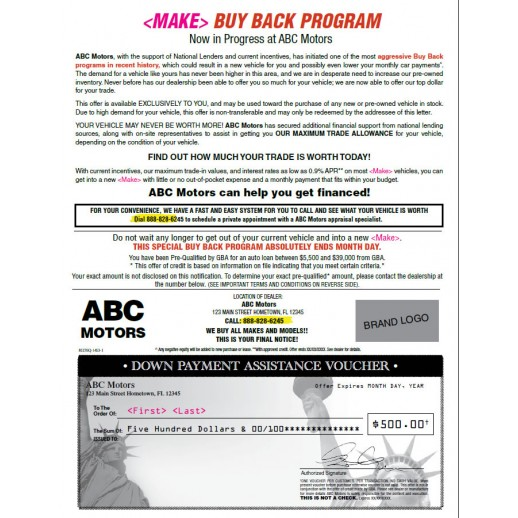 Manufacture Buyback Letter w/ Check