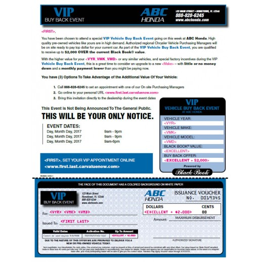 VIP Buyback Black Book Mailer - Honda