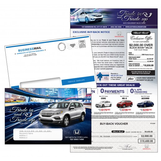 Auto Buyback - Trade In & Trade Up Sales Event - 8.5x14  Letter - Automotive Check Mailer