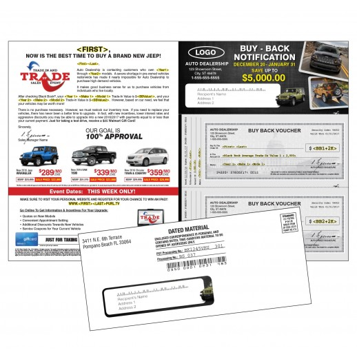 Auto Buyback - Trade In & Trade Up Sales Event - Automotive Check Mailer