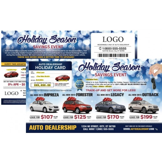 laminated automotive holiday season buyback card mailer. Black Bedroom Furniture Sets. Home Design Ideas