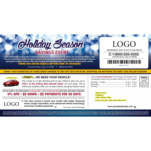 A Holiday Season Savings Event - Automotive Direct Mail - 11 x 6 Laminated Buyback Card Mailer
