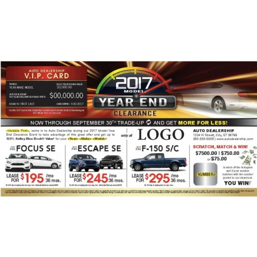 Laminated Automotive Year End Clearance Buyback Card Mailer