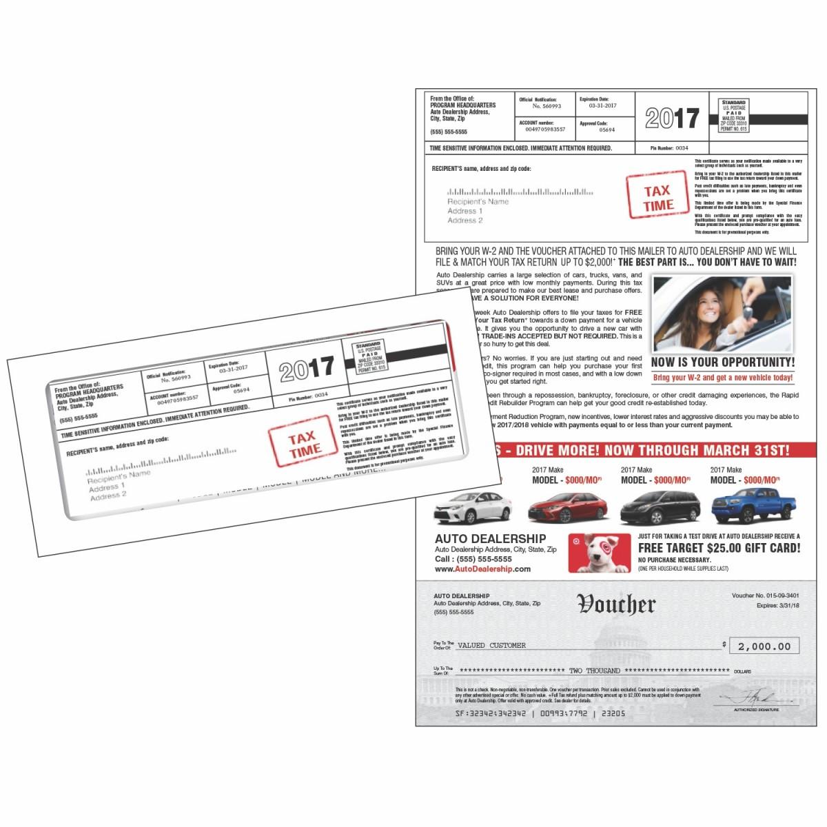 Tax Time Down Payment Match Automotive Mailer
