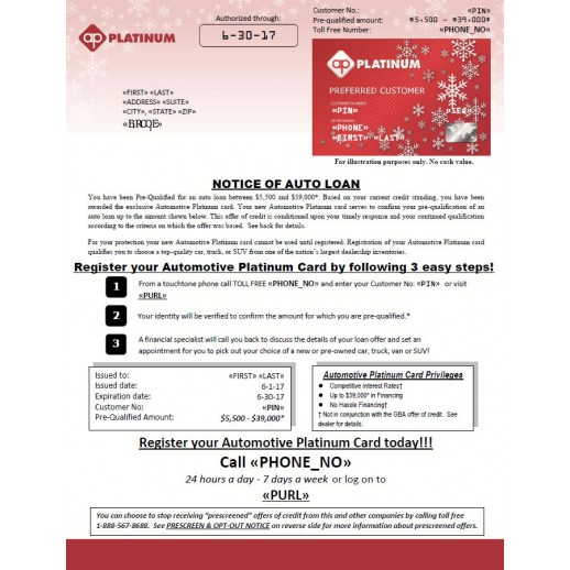 Holiday Automotive Credit - Embossed Card - Mailer - Red