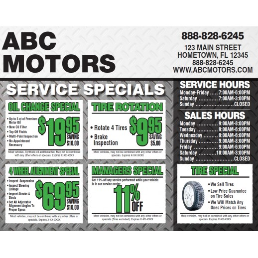 Service Coupons - 11x14 - Color Options