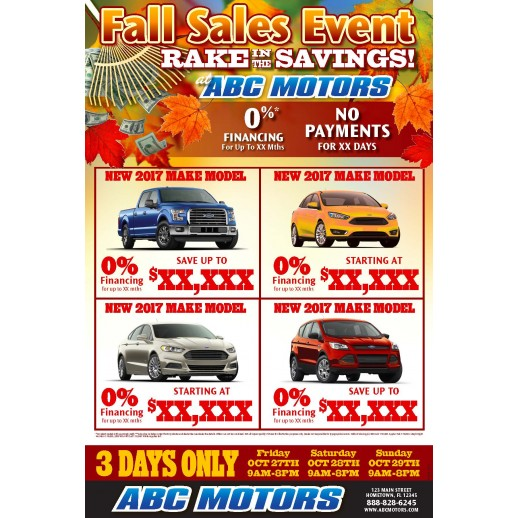 Fall Rake In The Savings Trifold 12x18 Supersale Event Mailer
