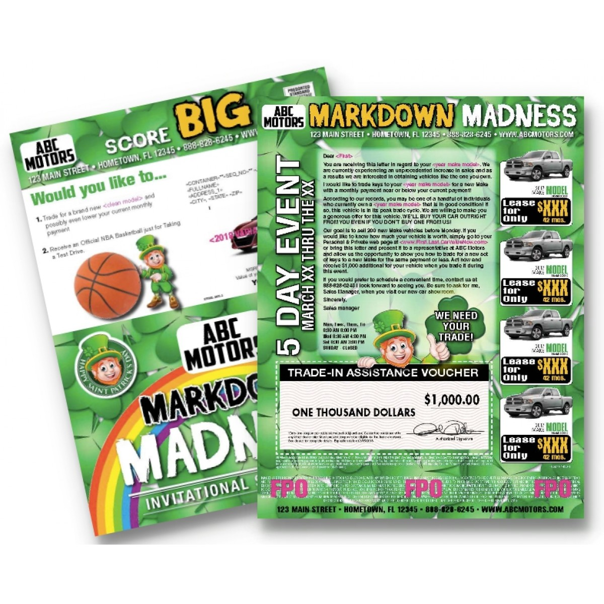 St Patricks Day, March Madness Automotive Direct Mail Campaign