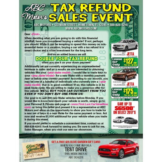 Double Your Down Payment - Automotive TAX Refund Sales Event - Buyback