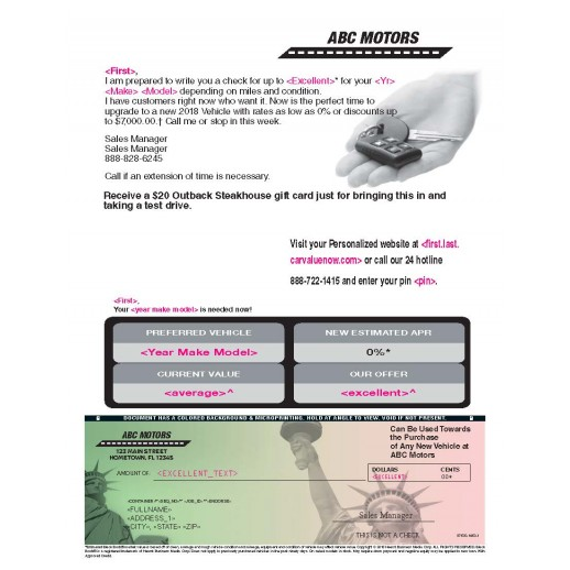 Auto Buyback - Tax Time Check - Automotive Direct Mail