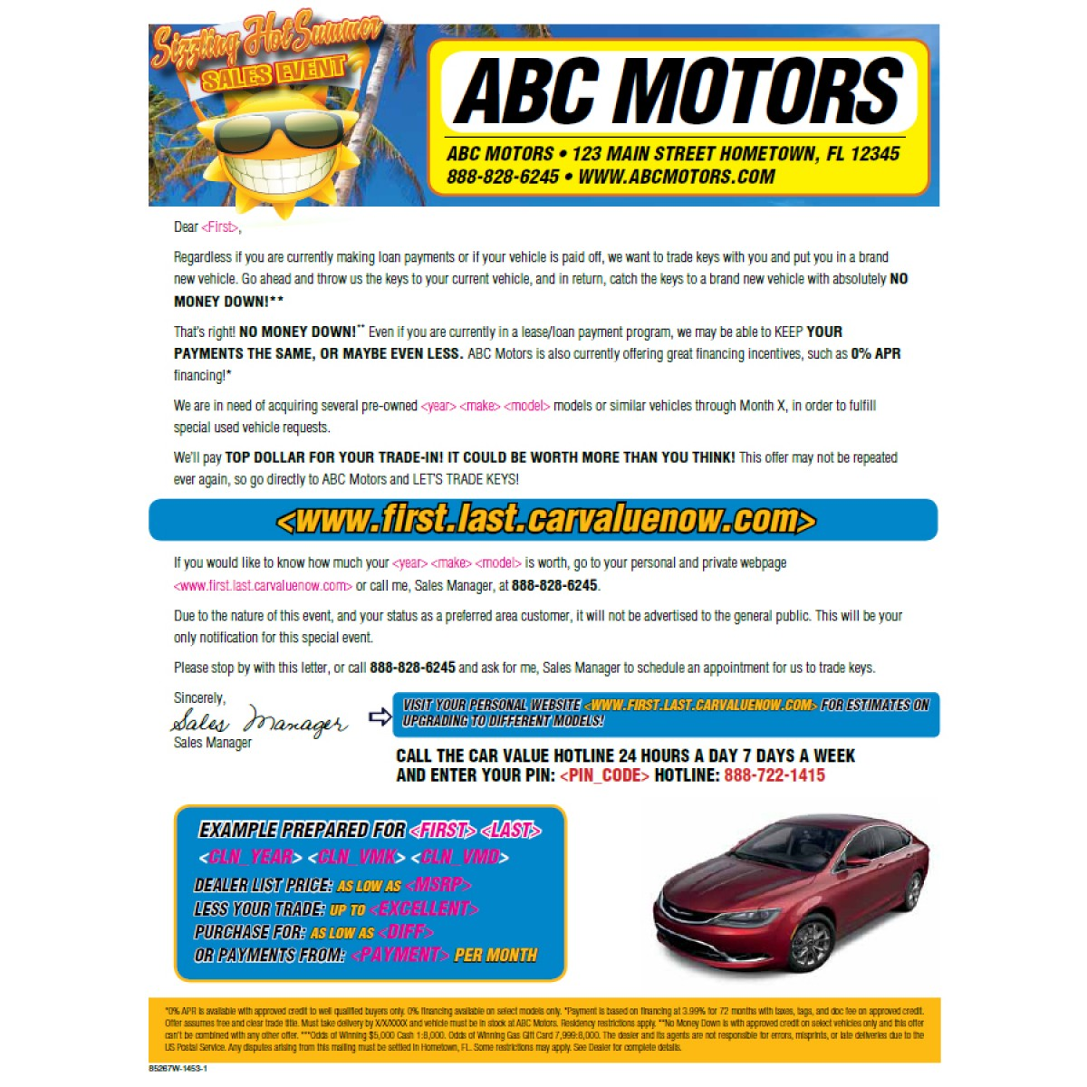 Automotive Direct Mail Summer Mail Buyback Mailer