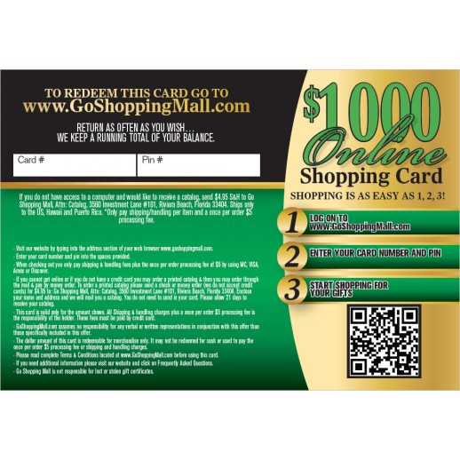 $1000 Online Shopping Card