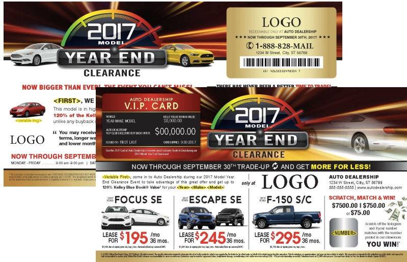 laminated automotive year end clearance buyback card mailer. Black Bedroom Furniture Sets. Home Design Ideas